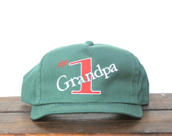 Vintage Trucker Hat Snapback Hat Baseball Cap Vintage #1 Grandpa Best Number One Grandparent Family