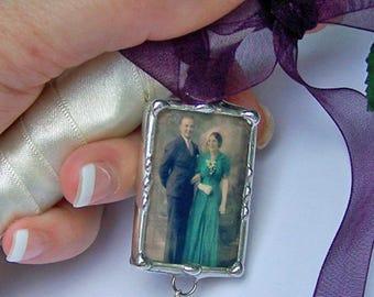 Charme Photo souvenir de mariage, cadeau de la mariée pour la mariée Bouquet, souvenir souvenir, douche cadeau, recto-verso