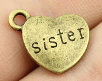 4 Sister Engraved Heart Charms, Antique Bronze Tone (1G-174)