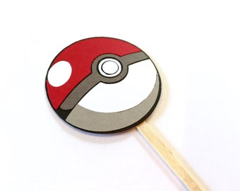 Set of 12 Pokeball Cupcake Toppers / Paper Pokemon Cupcake Topper Pokemon Go Cupcake Topper Pokemon Party Decorations Pokemon Birthday Party
