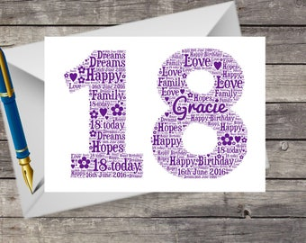 18th birthday card etsy personalised 18th birthday card word art word cloud for her your own bookmarktalkfo Choice Image