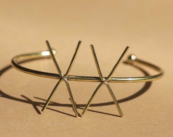 Solid Brass Cuff Bracelet with 4 Prongs - Two Claws for Jewelry Making Supplies