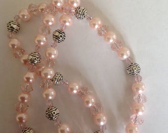Pink pearl necklace Pink necklace Beaded necklace handmade necklace