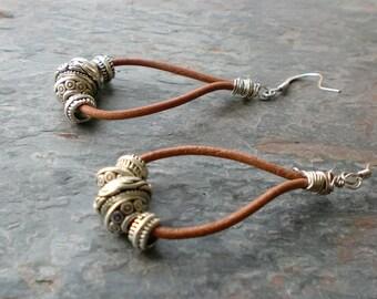 Leather and silver teardrop chandelier earrings