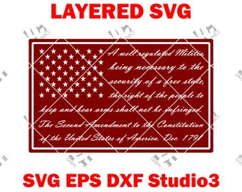 2nd / Second Amendment Flag - Cutting File SVG, EPS, DXF, and Studio3 - Cricut, Silhouette Cameo Studio Cut File- Instant Download 2A