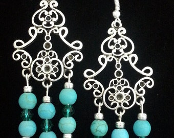Silver and Turquoise Chandelier Earrings