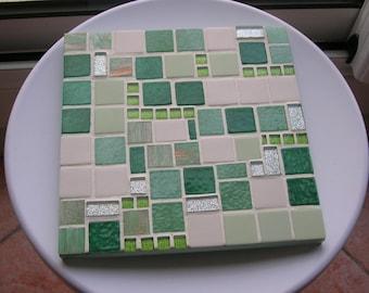 "Flat mosaic trivet, Green Green ""frog"""