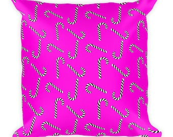 Double Sided Design Candy Canes - Square Pillow