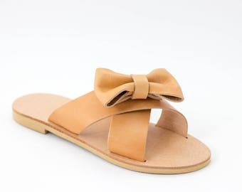 Handmade bow slides, women greek sandals, summer fashion ladies shoes