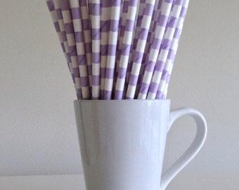 CLEARANCE Light Purple Paper Straws Light Purple Lavender Lilac Ring Party Supplies Party Decor Cake Pop Sticks Mason Jar Straws Graduation