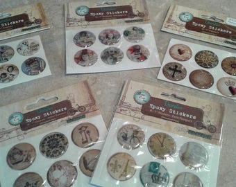 "Bottle Cap Inc. Decorative Epoxy Stickers - (6) 1"" Stickers Vitage Edition (Select"