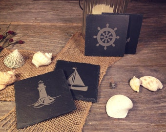 Laser Etched Natural Slate Nautical Coasters - Set of (4)