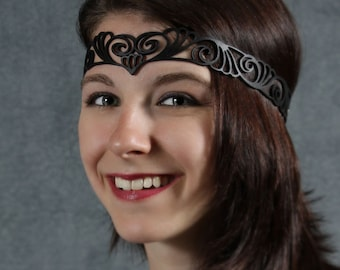 Nouveau Deco leather head wreath in black