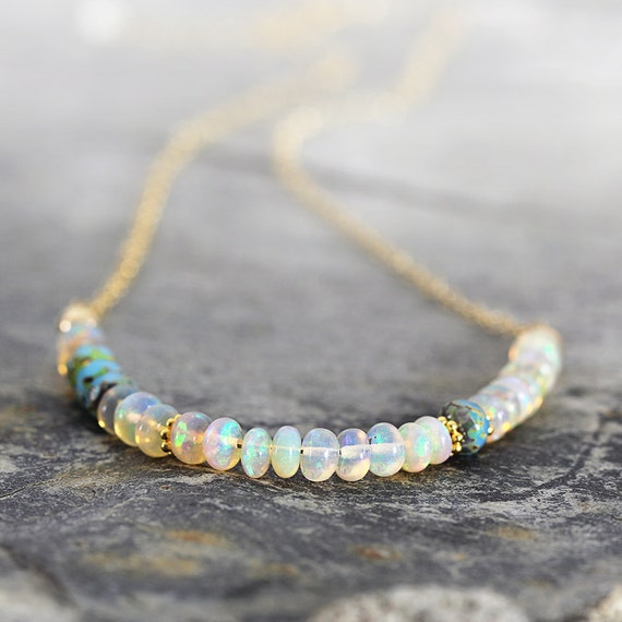 Ethiopian Opal Necklace - Iridescent Stone Necklace