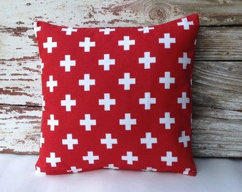 Red Swiss Cross Pillow Cover