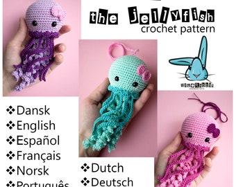Jenny the Jellyfish - amigurumi crochet pattern. Languages: English, French, Norwegian, Spanish, Portuguese, Danish, Dutch, German