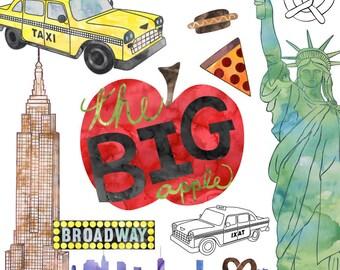 New York City Clip Art, Watercolor Clip Art American Cities, Commercial Use New York Clip Art