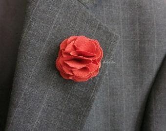 Men's Linen Lapel Flower - Wedding Boutonniere - Flower Lapel Pin - Buttonhole - Fall Wedding - Picante - Anniversary Gift