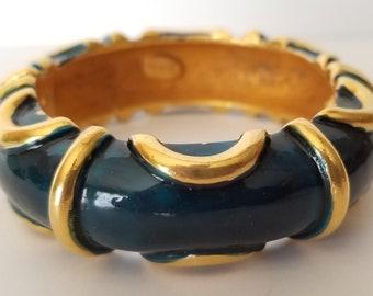 KJL Blue Enamel Bracelet, Kenneth Lane Bracelet, Kenneth Jay Lane Bracelet, Signed KJL, c 1980