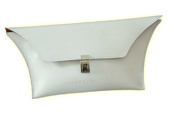 White Leather Clutch Bag with Red Lining
