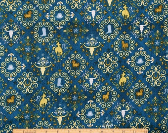 Western Fabric Unbridled Western Symbols in Blue From Quilting Treasures 100% Cotton