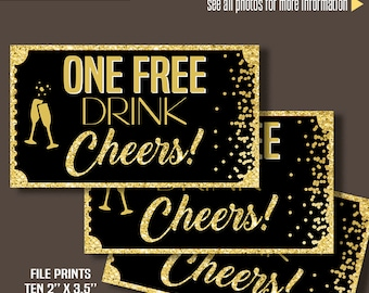 "Printable Free Drink Tickets, Drink tickets, 2"" x 3.5"" tickets, Instant Download files A185"