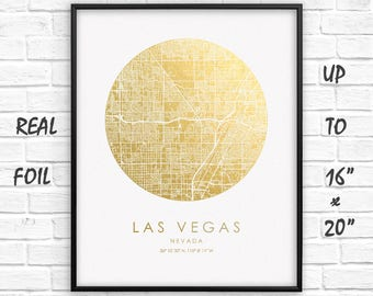 """Las Vegas City Map Gold Foil Print up to 16""""x20""""Las Vegas Large Wall Art Circle Poster Gift Home Office Decor US GoldenGraphy"""