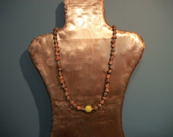 Hand Made Necklace with Green Bead
