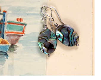 High quality abalone oval earrings on sterling ear wires