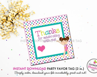 Girls Gymnastics Birthday (Brown Hair) - Printable 3 inch Square Birthday Party Favor Tags - Instant Download PDF File