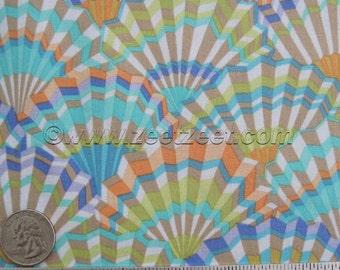 Kaffe Fassett PAPER FANS VINTAGE - Gp143 Cotton Quilt Fabric by the Yard Aqua, Melon, Purple, Citron