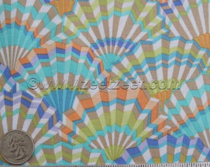 """17.5"""" Kaffe Fassett PAPER FANS VINTAGE - Gp143 Cotton Quilt Fabric - Remnant Aqua, Melon, Purple, Citron"""