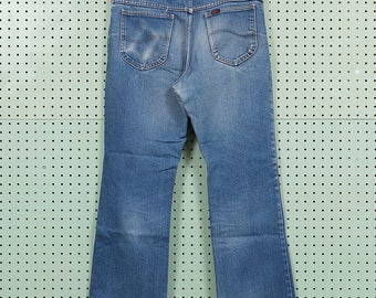 Vintage Lee Riders Denim Jeans Size 36x30 Made in USA Cotton Great Fade Dark Wash 80s