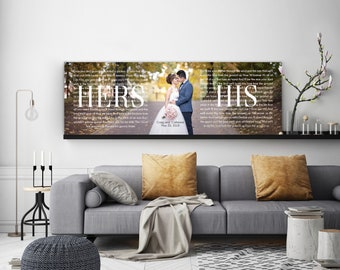 Two Year Anniversary Gift, Personalized 2 Year Anniversary, His And Hers Canvas
