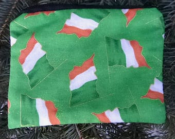 Irish coin purse, stitch marker pouch, gift card pouch, credit card case, Irish Flags, The Raven