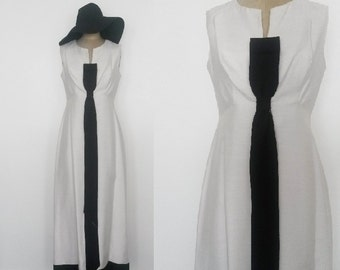Vintage Breakfast at Tiffany's Black and White Formal Evening Gown Black Tie Bow Tie Dress Size 6 - 8