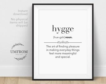 Hygge, Hygge Print, Hygge Definition, Hygge Decor, Hygge Gift, Danish Hygge, Definition Wall Art, Hygge Wall Print, Definition Prints