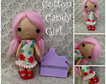 Cotton Candy Doll Handmade Felt Collectable