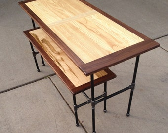 "The ""Study"" Workstation, office, or eatery table with full bench"