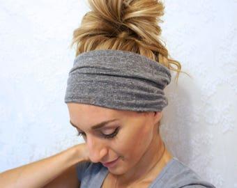 Grey Extra Wide Yoga Headband/ Wide Headband/ Boho Headband/ Women's Fitness Headband