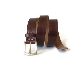 Leather belt, brown leather belt, men's belt, hand made belt, gift for him, gift for boyfriend