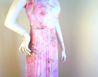Vintage Gown, Floral Pleated Dress, 1970s, polyester, summer dress
