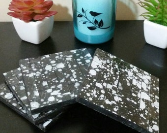 Black and White Splattered Glass Mosaic Tiled Drink Coasters (Set of 4)