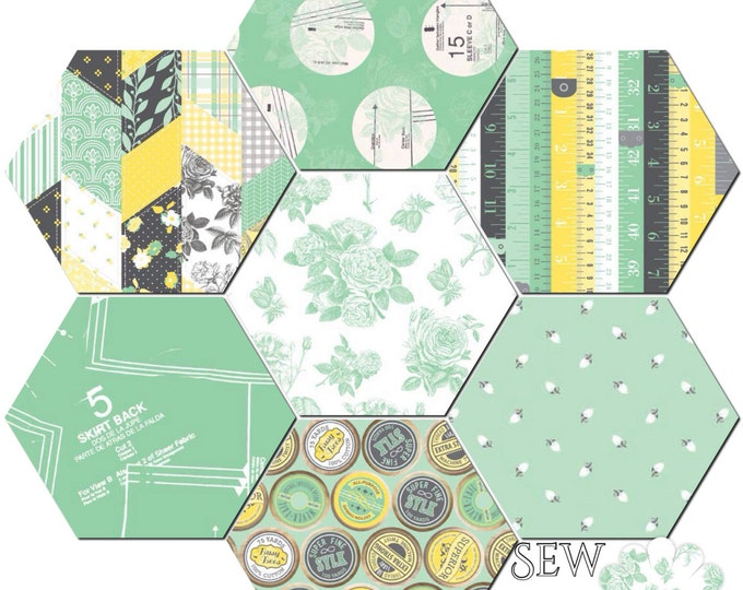 Sew Charming by Bo Bunny - 1 yard each x 7 pieces, Mint green Riley Blake quilting cotton fabric - Bundle set