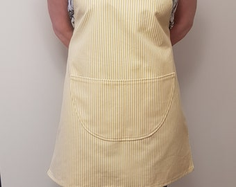 Kitchen apron / stripes / striped / handmade / yellow / green / red / blue