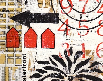 Original Mixed Media Abstract Collage by Kim Hambric - Waterfront Property
