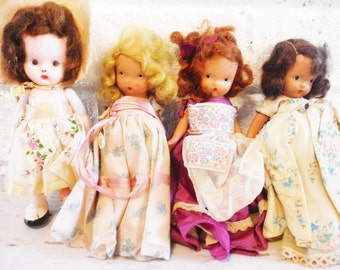 Four old dolls collection vintage 1940's five inch  dressed shabby, instant doll collection