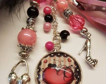 Bag charm or key chain pink clouded