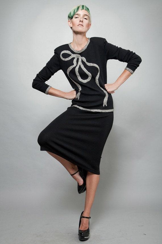 Vintage 80er Jahre 20er Jahre Stil Art-deco-Kleid Bleistift