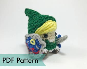 Link from Legend of Zelda Crocheted Amigurumi Finger Puppet PDF Pattern